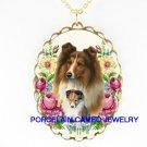 SHELTIE DOG DOG MOM CUDDLE PUPPY ROSE CAMEO NECKLACE