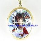 GREY KITTY CAT SNOW WINDOW CARDINAL BIRD CAMEO LOCKET