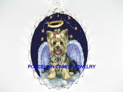 SMILING ANGEL YORKSHIRE DOG PORCELAIN CAMEO NECKLACE