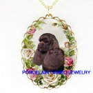 CHOCOLATE BROWN COCKER SPANIEL DOG WITH ROSE* CAMEO PORCELAIN NECKLACE