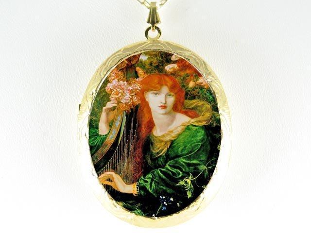 JOHN WATERHOSE ROSE LADY CAMEO PORCELAIN LOCKET NECKLAC