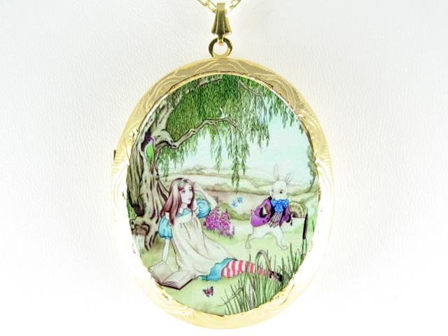 ALICE IN WONDERLAND WITH RABBIT PORCELAIN CAMEO LOCKET NECKLACE