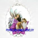SHELTIE DOG ANGEL FAIRY ROSE BUTTERFLY CAMEO NECKLACE
