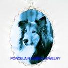 DANISH BLUE SHELTIE DOG SLEEP PORCELAIN CAMEO NECKLACE