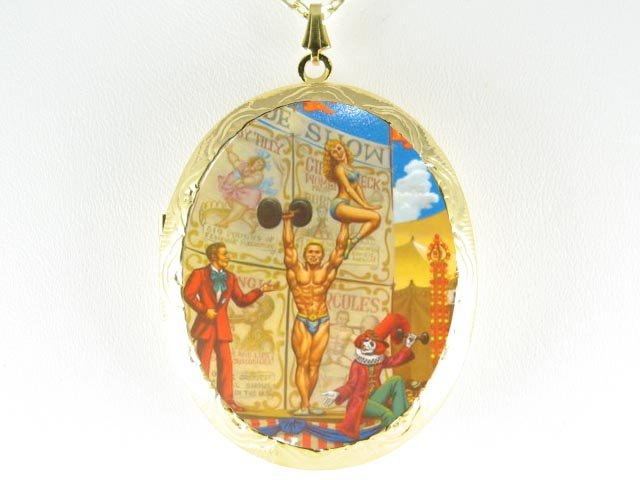 CLOWN CIRCUS SHOW PORCELAIN CAMEO LOCKET NECKLACE