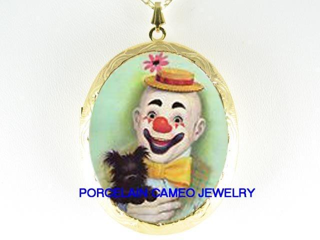 BOZO CLOWN SCOTTISH TERRIER DOG CAMEO PORCELAIN LOCKET NK