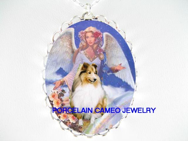 SHELTIE SHEEPDOG WITH ANGEL ROSE RAINBOW* CAMEO PORCELAIN NECKLACE