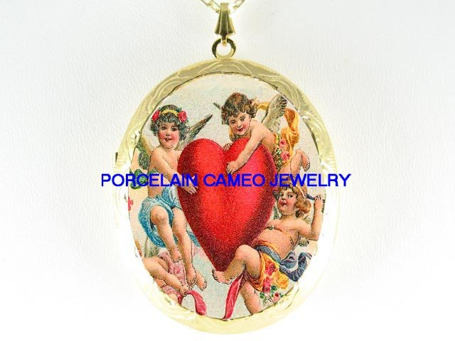 3 VICTORIAN ANGEL CHERUB VALENTINE HEART  *  CAMEO PORCELAIN LOCKET NECKLACE