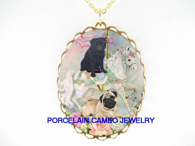 2 PUG DOG AND BLACK PUG ON ROSE CAROUSEL HORSE * CAMEO PORCELAIN NECKLACE