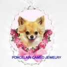 CHIHUAHUA DOG WITH PINK ROSE BOW* CAMEO PORCELAIN NECKLACE