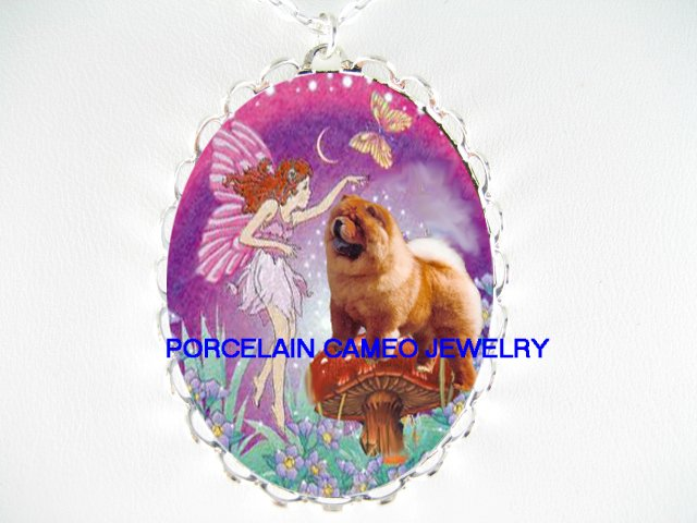 CHOW CHOW DOG BUTTERFLY FAIRY CAMEO PORCELAIN NECKLACE
