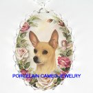SMOOTH CHIHUAHUA DOG PINK ROSE CAMEO PORCELAIN NECKLACE