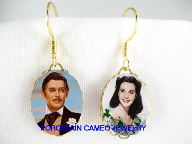 GONE WITH THE WIND GABLE LEIGH PORCELAIN CAMEO EARRING