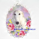 BORZOI DOG ROSE FORGET ME NOT CAMEO PORCELAIN NECKALCE