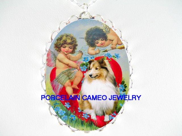 VALENTINE SHELTIE DOG ANGEL CHERUB HEART CAMEO NECKLACE