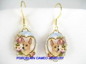 SMOOTH CHIHUAHUA ROSE HEART PORCELAIN CAMEO EARRINGS