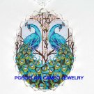 2 BLUE PEACOCK BIRD DOGWOOD PORCELAIN CAMEO NECKLACE