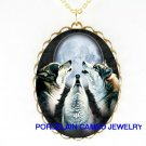 3 HOWLING WOLF WOLVES MOON CAMEO PORCELAIN NECKLACE