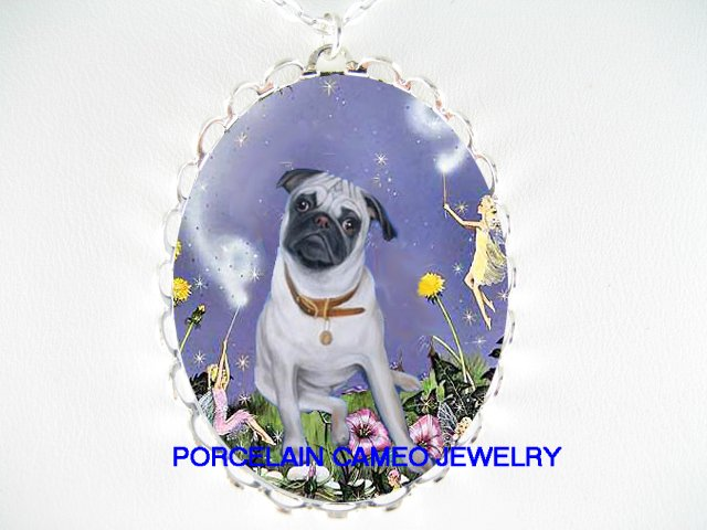 PUG DOG WITH BUBBLE FAIRY CAMEO PORCELAIN NECKLACE
