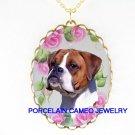 SWEET BOXER DOG VICTORIAN ROSE PORCELAIN CAMEO NECKLACE
