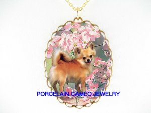 LONG HAIR CHIHUAHUA DOG CHERRY BLOSSOMS CAMEO NECKLACE