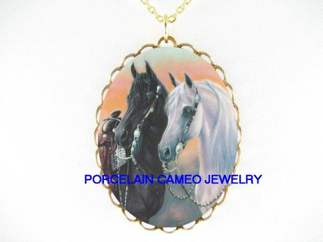 2 WHITE BLACK STALLION HORSE CAMEO PORCELAIN NECKLACE
