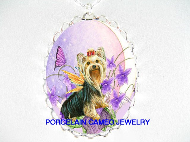 BUTTERFLY FAIRY YORKSHIRE TERRIER DOG MOON NECKLACE