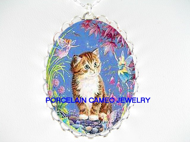 BROWN KITTY CAT WITH BUTTERFLY FAIRY * CAMEO PORCELAIN NECKLACE