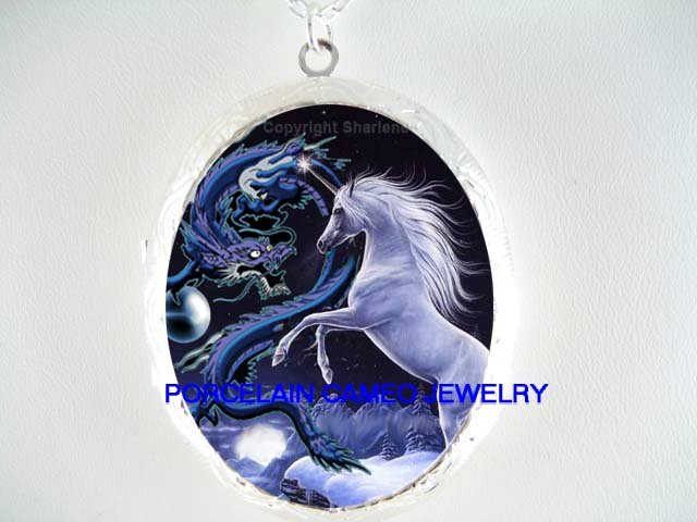 BLUE UNICORN HORSE WITH DRAGON PORCELAIN CAMEO LOCKET NECKLACE