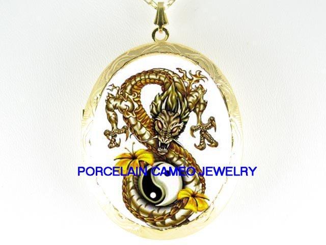 GOLDEN DRAGON YIN YANG LILY CAMEO PORCELAIN LOCKET