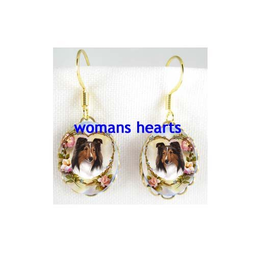 SHELTIE SHEEPDOG COLLIE DOG FORGETMENOT ROSE PORCELAIN CAMEO EARRINGS