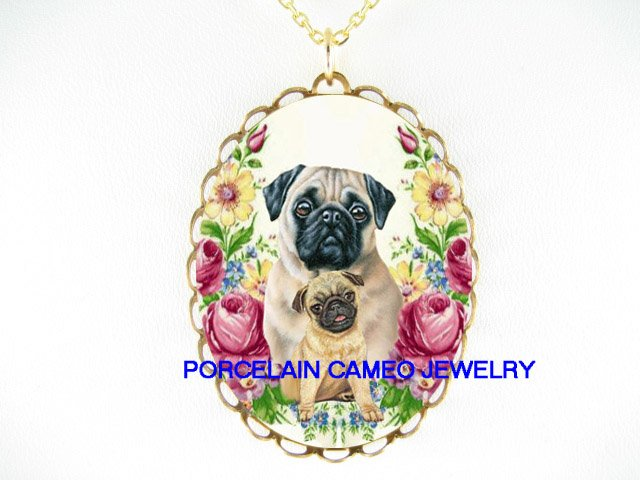 PUG DOG MOM CUDDLE PUPPY ROSE PORCELAIN CAMEO NECKLACE