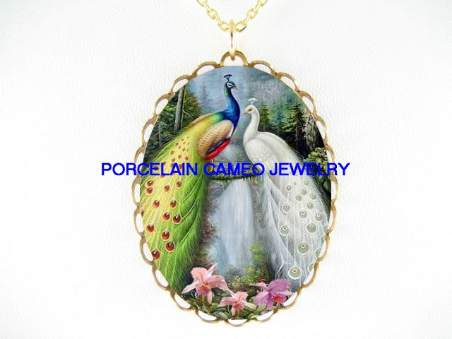 2 LOVING PEACOCK BIRD WITH ORCHID FLOWER WATERFALL* CAMEO PORCELAIN NECKLACE