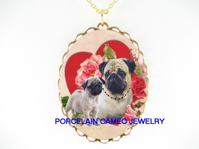 PUG DOG MOM PUPPY VALENTINE LOVE HEART ROSE NECKLACE