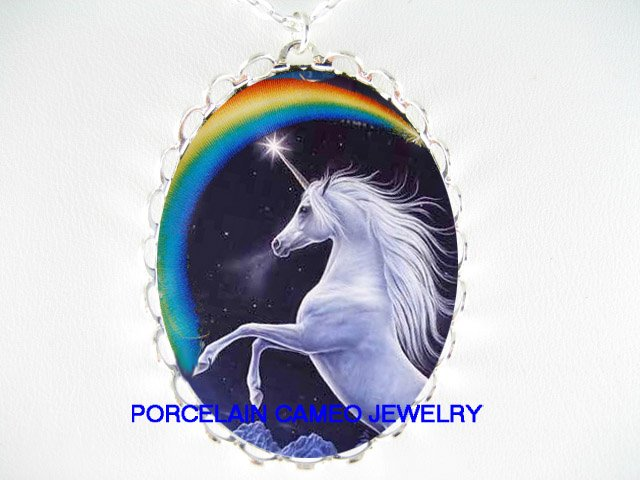 BLUE UNICORN WITH RAINBOW* CAMEO PORCELAIN NECKLACE