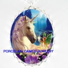 FLORAL UNICORN BUTTERFLY FAIRY PORCELAIN CAMEO NECKLACE