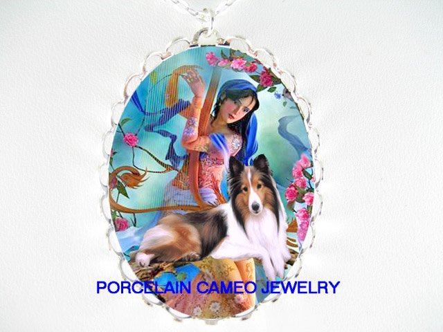 SHELTIE SHEEPDOG ROSE FAIRY PLAY MUSIC CAMEO NECKLACE