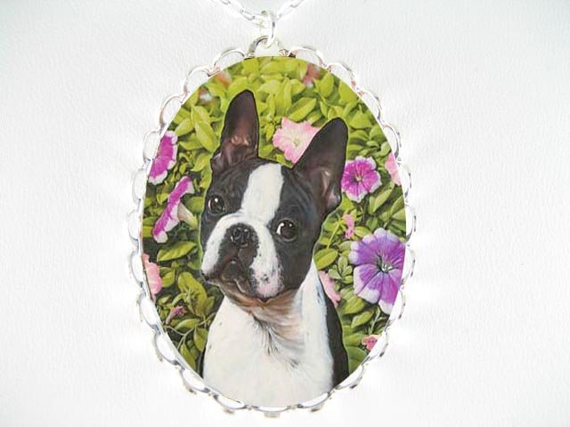 BOSTON TERRIER DOG WITH PANSY* CAMEO PORCELAIN NECKLACE