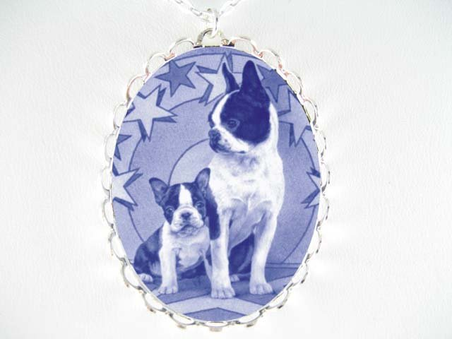 DANISH BLUE BOSTON TERRIER DOG MOM PUPPY * CAMEO PORCELAIN NECKLACE