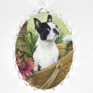 BOSTON TERRIER DOG DAISY BUTTERFLY CAMEO PORCELAIN NECKLACE