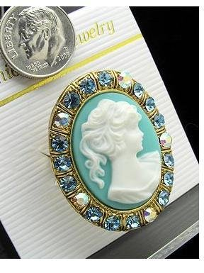 VICTORIAN BLUE WHITE PONYTAIL LADY SWAROVSKI CAMEO RING