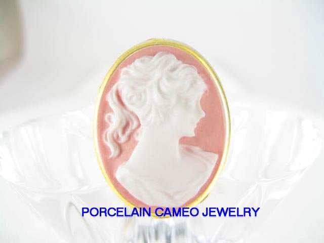 VICTORIAN VINTAGE PINK PONYTAIL LADY 3D CAMEO RING 5-9