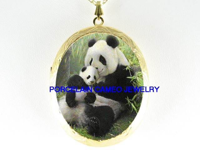PANDA MOM CUDDLING BABY CUB PORCELAIN CAMEO LOCKET NECKLACE