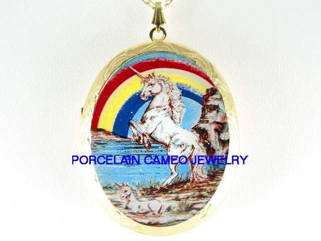 2 UNICORN HORSE MOM BABY RAINBOW PORCELAIN CAMEO LOCKET