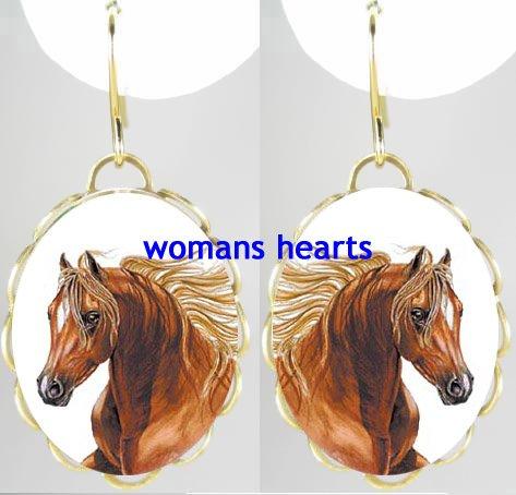 BROWN STALLION HORSE PORCELAIN CAMEO EARRINGS