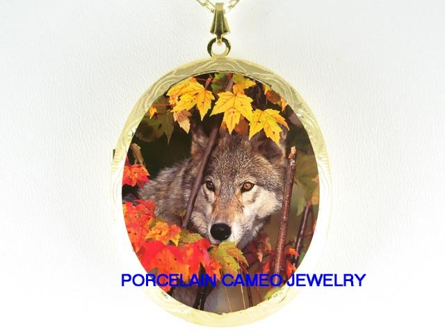 GREY WOLF IN THE FALL PORCELAIN CAMEO LOCKET NECKLACE