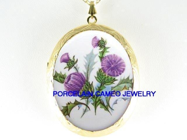PURPLE THISTLE FLOWER* CAMEO PORCELAIN LOCKET NECKLACE