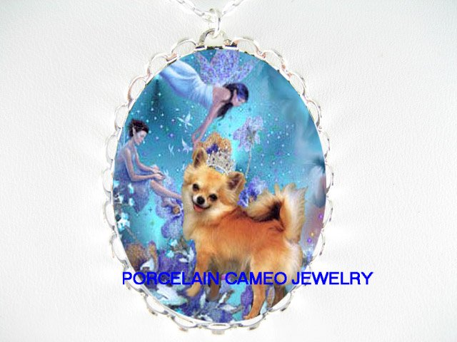 CROWN CHIHUAHUA DOG BUTTERFLY FAIRY  CAMEO NECKLACE