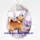 CROWN CHIHUAHUA DOG ORCHID  CAMEO PORCELAIN NECKLACE