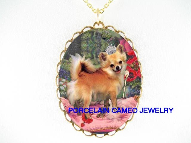CROWN CHIHUAHUA DOG WITH POPPY CAMEO PORCELAIN NECKLACE